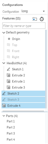feature and part lists